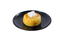 Fried quark cheese pancake with sour cream Stock Photography