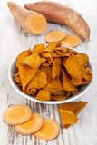 Fried and raw red batata chips Stock Image