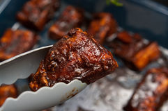 Fried ribs with honey Stock Image