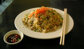 Fried rice. A plate of chinese fried rice stock photos