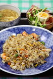 Fried rice. Picture of shark fin soup and salad dinner of fried rice Stock Images