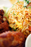 Fried Rice. Malaysian traditional dishes: Fried Rice with Fried Chicken Stock Images