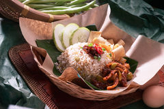 Fried rice. Traditional fried rice with sambal petai Stock Image