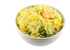 Fried Rice. A bowl of fried rice isolated in solid white background stock photos