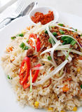 Fried Rice, asian style fry rice. A photograph showing the delicious and tasty dish of fried rice, popular street food in cafe and restaurants too.  Simple hot Royalty Free Stock Photography