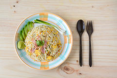Fried rice with bacon and egg Stock Images