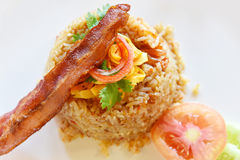 Fried Rice with Bacon Stock Photos