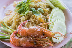 fried rice and Baked Shrimp Stock Images