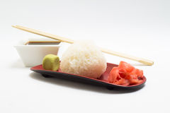 Fried rice ball with ginger and wasabi Royalty Free Stock Photography