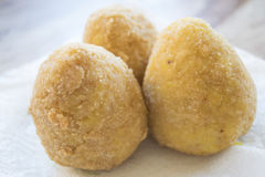 Fried rice balls. Original Italian fried rice balls or arancini Stock Photography