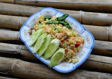 Fried rice on bamboo Stock Image