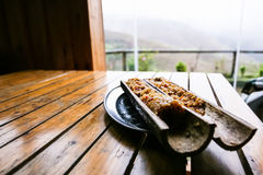 Fried rice in bamboo trunk close up. Travel to China - fried rice in bamboo trunk close up in rustic eatery in area Dazhai Longsheng Rice Terraces (Dragon's Royalty Free Stock Photo