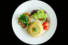 Fried rice and basil duck meats Royalty Free Stock Photo