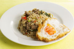Fried rice with beef chili and basil Stock Images