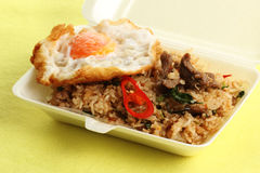 Fried rice with beef chili and basil topping fried egg Stock Photography