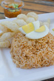 Fried rice and boiled egg Royalty Free Stock Images