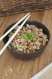 Fried rice in bowl with chop sticks Royalty Free Stock Image