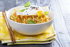 Fried rice with cabbage and carrot Stock Image