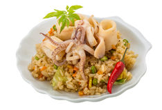 Fried rice with calamari Stock Image