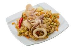 Fried rice with calamari Stock Photo