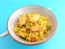 Fried rice with chicken Stock Photo