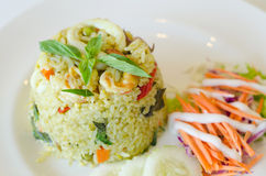 Fried rice with chicken green curry. Thai food Royalty Free Stock Photo