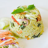 Fried rice with chicken green curry Stock Image