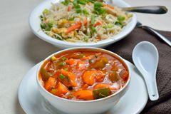 Fried rice and Chicken Manchurian Stock Photography