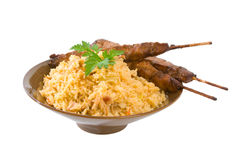 Fried Rice and Chicken Sticks Stock Image
