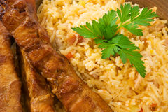 Fried Rice and Chicken Sticks Royalty Free Stock Image