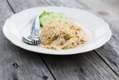Fried rice with chicken in white dish Royalty Free Stock Photos