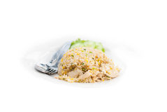 Fried rice with chicken in white dish Royalty Free Stock Photo