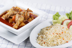 Fried rice and chicken yellow curry. Fried rice with crab and Chicken yellow curry Stock Photo