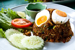 Fried rice with chili dip Stock Images