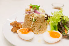 Fried rice with chili dip served with boiled egg a Stock Photography