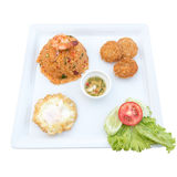 Fried rice with chili and prawns, deep-fried shrimp cakes, Fried Royalty Free Stock Photos
