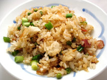 Fried rice on Chinese plate. Fried rice in a small blue and white plate Stock Photography