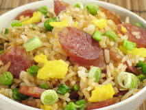 Fried Rice and Chinese Sausage Royalty Free Stock Photo