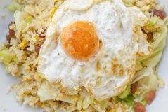 Fried Rice with Chinese Sausage  and Salted Egg Yolk Royalty Free Stock Photo