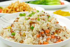 Fried rice. Closeup of meat dices fried rice Stock Photo