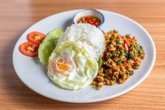 Fried Rice con albahaca y el huevo fotografía de archivo libre de regalías
