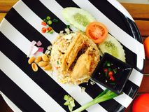 Fried Rice con cerdo cortado Imagen de archivo libre de regalías
