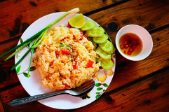 Fried Rice con il calamaro ed il gamberetto Immagine Stock Libera da Diritti
