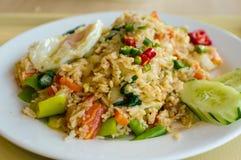 Fried Rice con le verdure e le uova Fotografia Stock