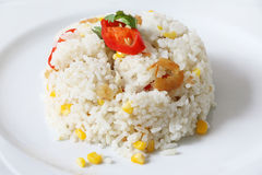 Fried rice with corn and dried shrimp Royalty Free Stock Photo