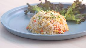 Fried rice with crab. NStreet food, Dinner, seafood, A recipe for Thai traditional. Special dish with a white meat crab , a fresh yellow egg and Thai jasmine Stock Image