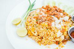 Fried rice with crab meat. On top - Thai food style Stock Image