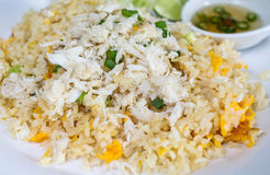 Fried rice with crab in plate Stock Photography