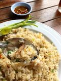 Fried rice. Fried rice with crab on wood table Royalty Free Stock Photo