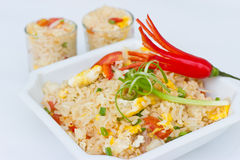 Fried rice with egg. Fried rice with egg, onion and chili decorated royalty free stock photo